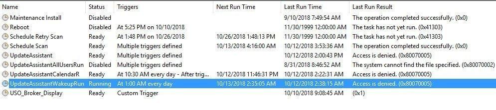 UpdateAssistantWakeUpRun Error Access is Denied - 0x80070005