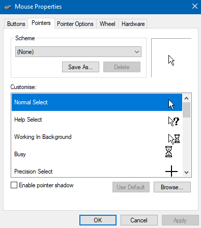Mouse pointer 'None' scheme not working