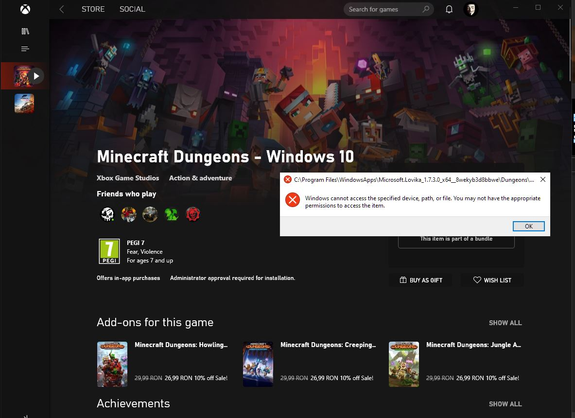 Cannot start Minecraft Dungeons fb9fb23e-fd7e-4580-a1b1-6befbd296bd8?upload=true.jpg