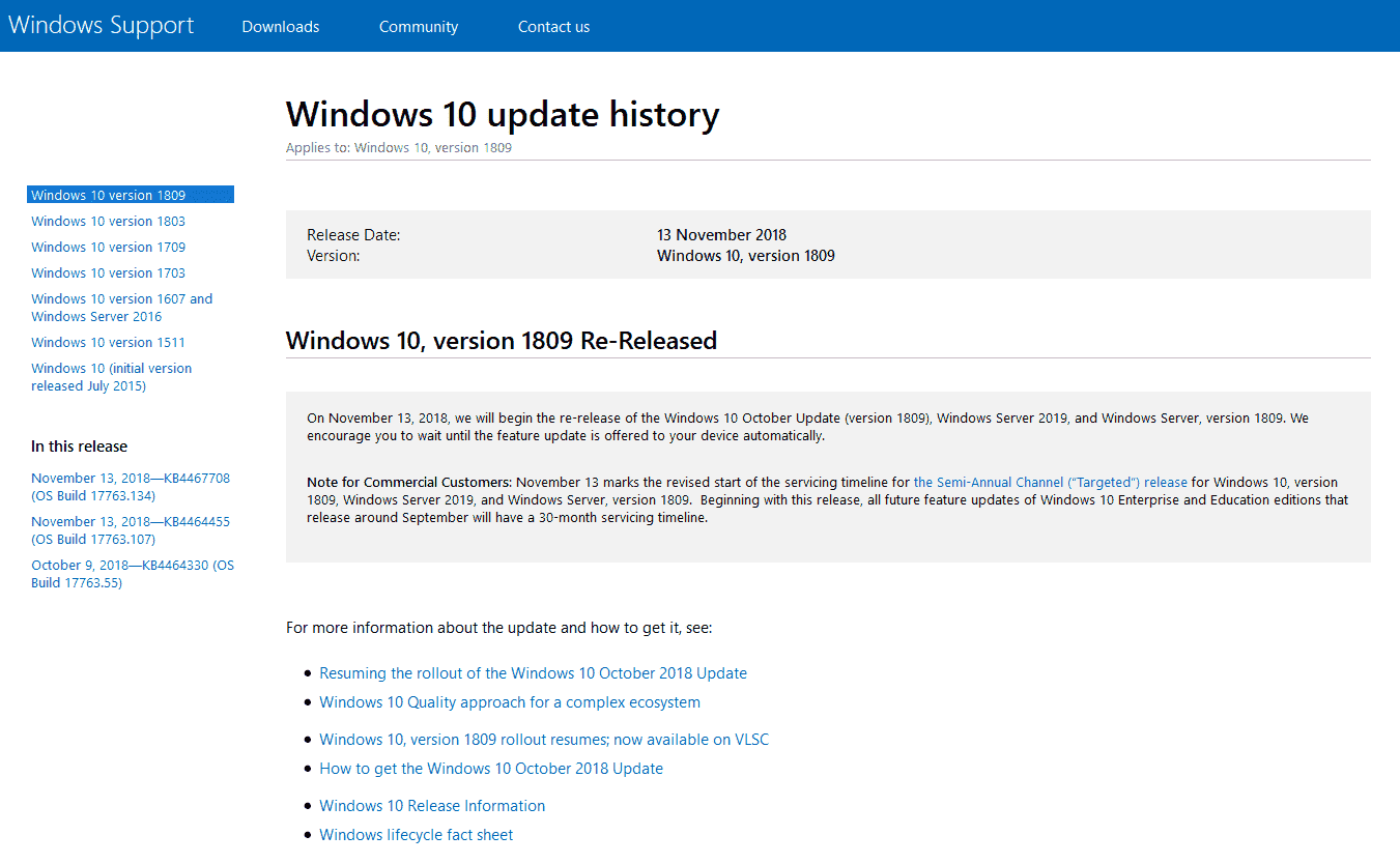 Windows 10 1809 ISO - Microsoft's Software Cycle - After a month of