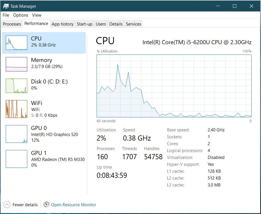 CPU Stuck at 0.38 Ghz - Windows 10 Pro November 2019 Update fc34a307-40fa-4916-bb4c-58c155b44a2e?upload=true.jpg