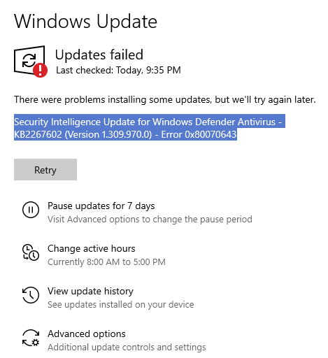 Security Intelligence Update for Windows Defender Antivirus - KB2267602 Version 1.309.970.0... fcb29ea7-c018-4b8e-bc40-5b43ba66a9da?upload=true.png