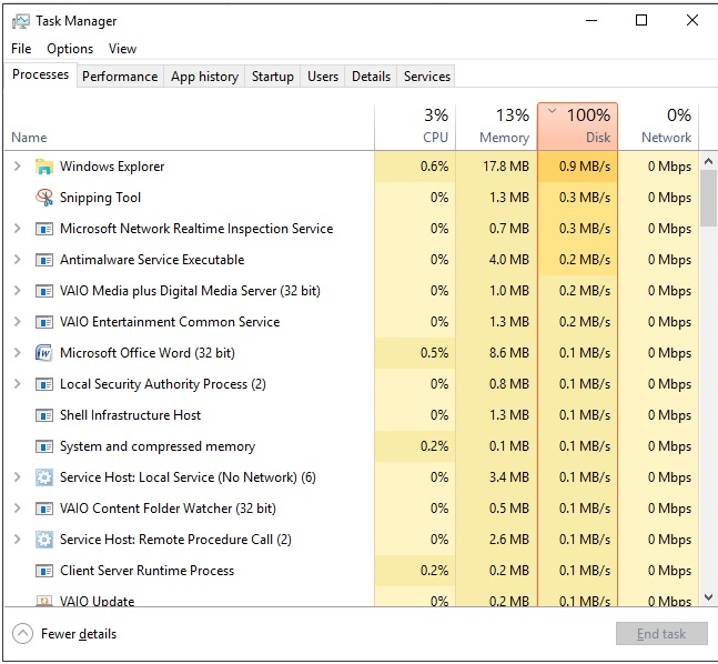 100% disk utilisation with Windows 10 - what is going on? Does anyone know? fdf3bcd9-97dc-4986-a80e-e99e8bc43861.jpg