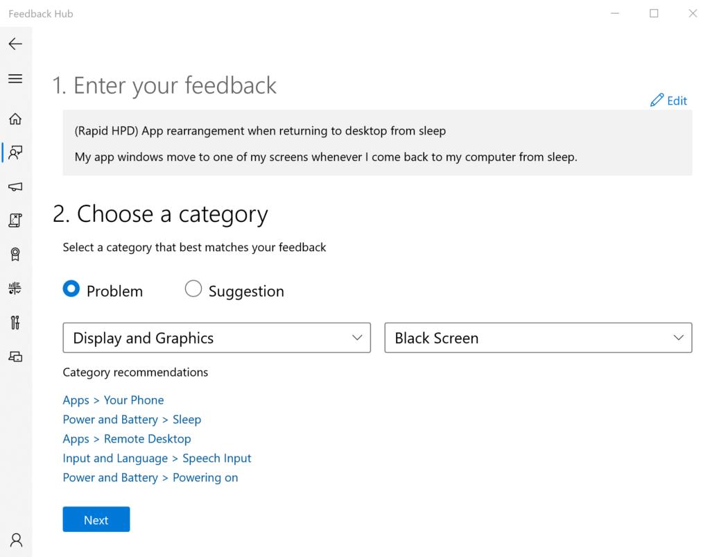Microsoft fixes unexpected app rearrangement from sleep in Windows 10 feedbackhub-1-1024x803.png