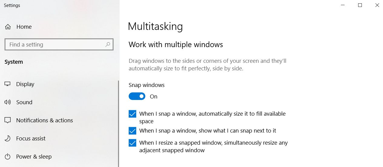 Windows 10 multitasking/snap assist no longer working after May 2019 update ff683657-5a1d-41ed-8263-586a65b5e76e?upload=true.png