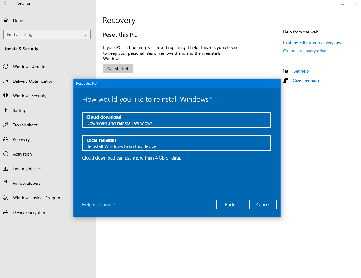 Will reseting Windows 10 using the cloud download option remove my oem license? figure-1.png