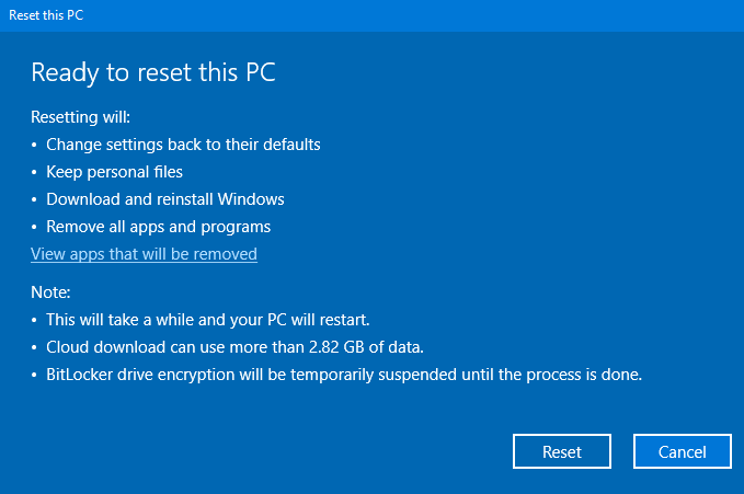 Will reseting Windows 10 using the cloud download option remove my oem license? figure-2.png