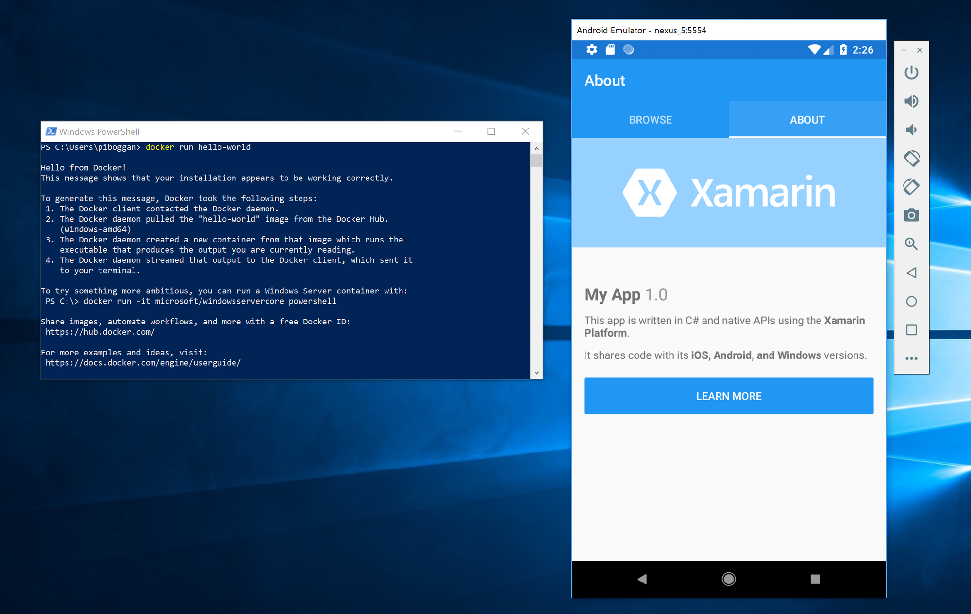 Explorer connect to Android device directory /storage/emulated/0 HyperV-Emulator-Docker.png