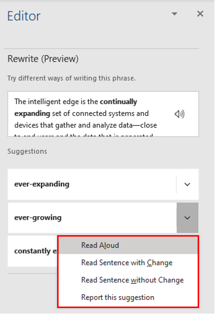 New Rewrite feature in Microsoft Word for Office 365 image4.png