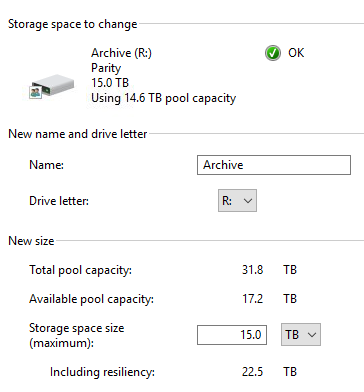 "Windows Storage Spaces issue ""Using 10.2 TB of 14.5 TB pool capacity"" IuI6y.png"