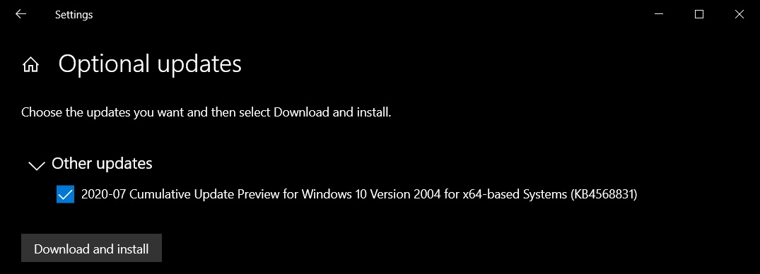 Windows 10 Build 19041.423 is now available, download offline installers July-optional-update.jpg