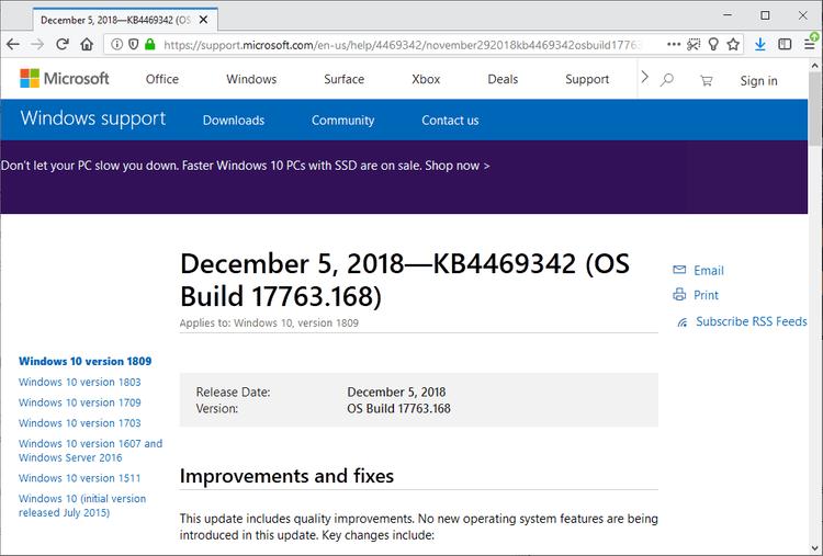 Microsoft publishes KB4469342 for Windows 10 version 1809 KB4469342.png