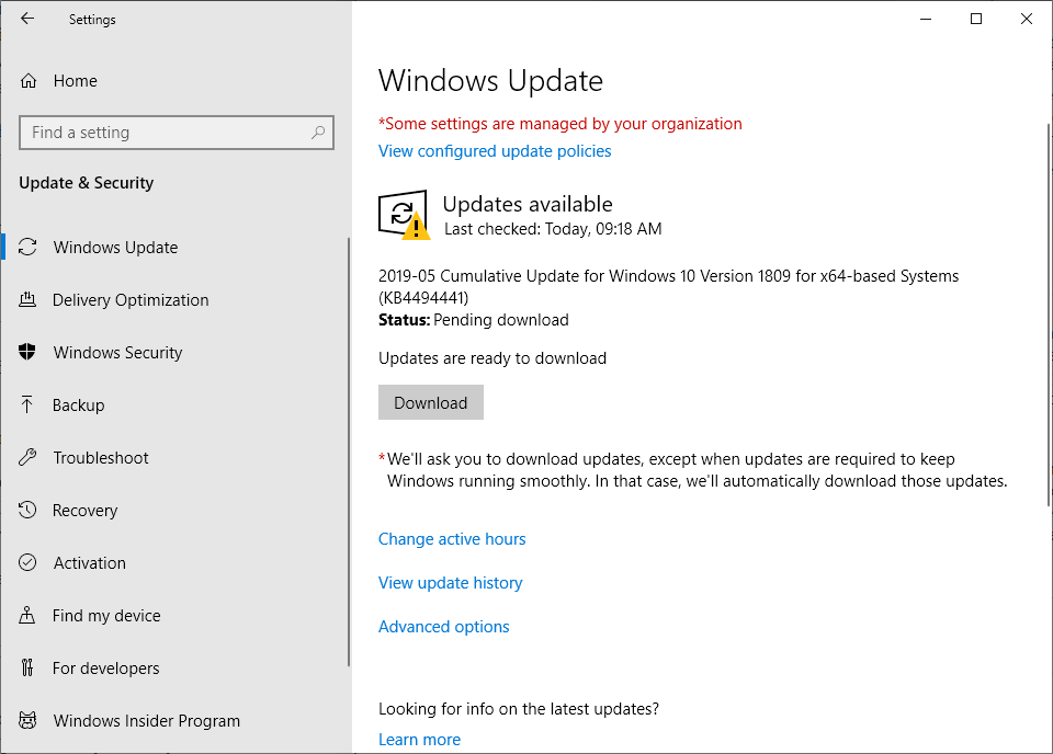 KB4494441 for Windows 10 version 1809 may install twice KB4494441-installs-twice.png