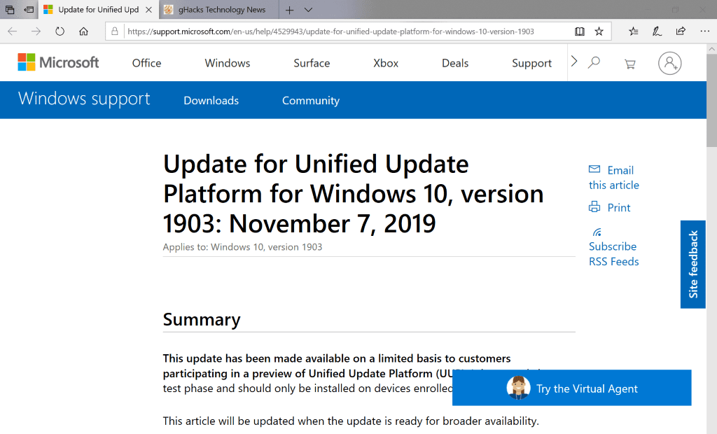 Microsoft rolls out Unified Update Platform preview update KB4529943 kb4529943.png