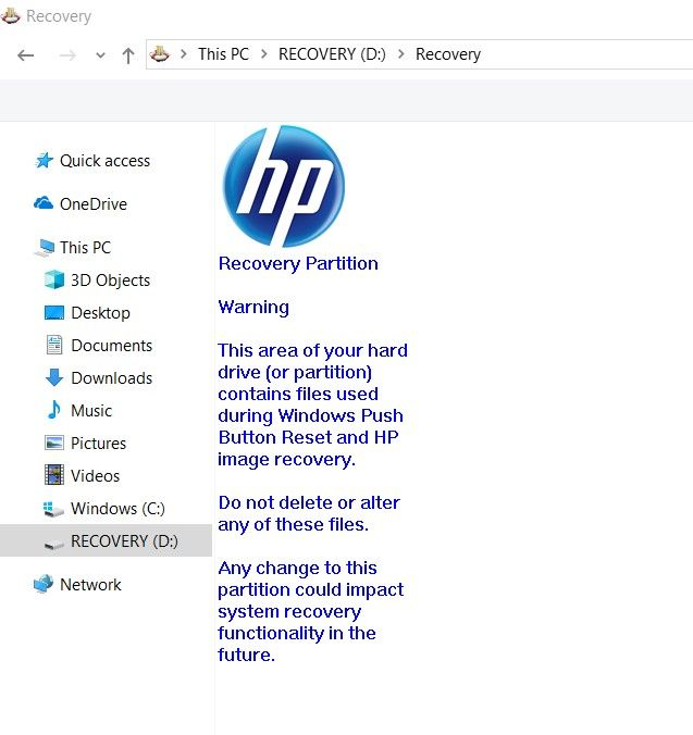 HP Laptop Recovery Folder is Basically Empty