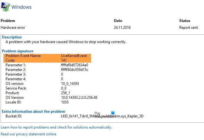 Fix LiveKernelEvent Errors on Windows computers livekernelevent-code-141.jpg