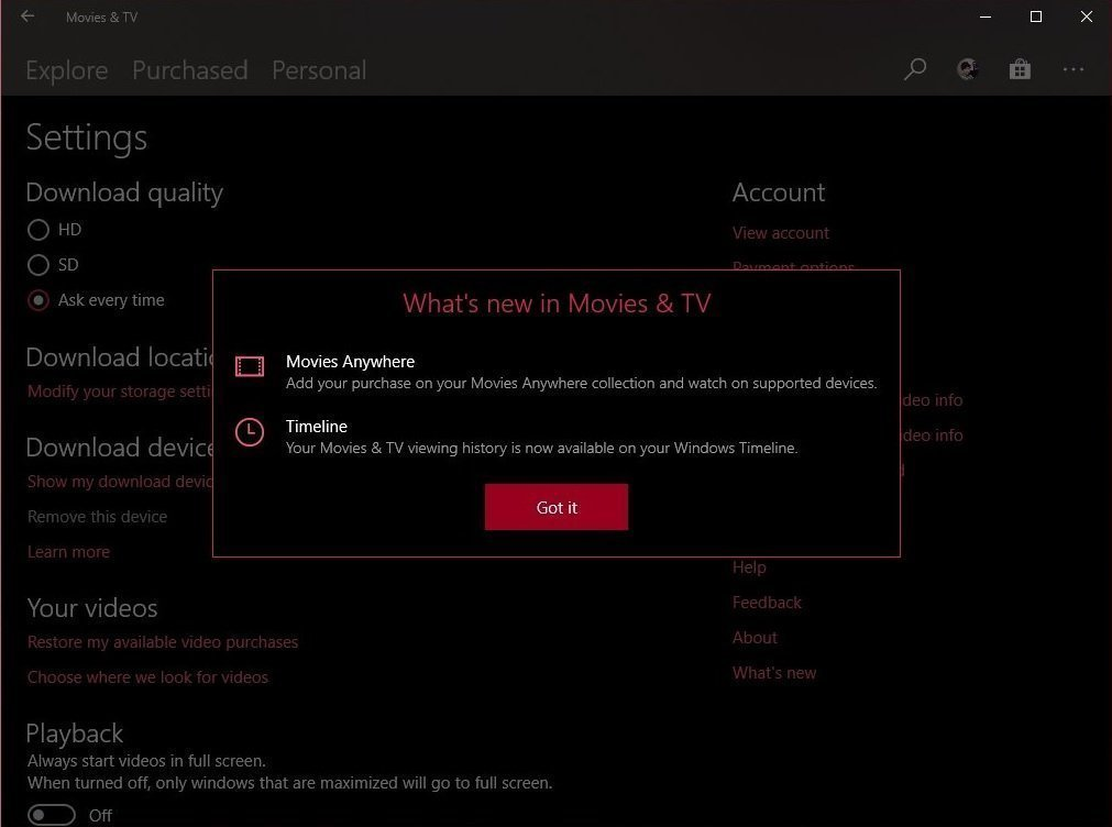 movies tv app for windows 10 gets timeline and movies anywhere support