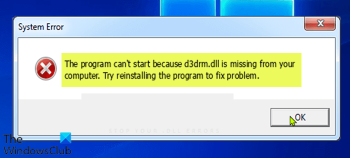 Program can't start because d3drm.dll is missing – Legacy Game error Program-cant-start-because-d3drm.dll-is-missing.png