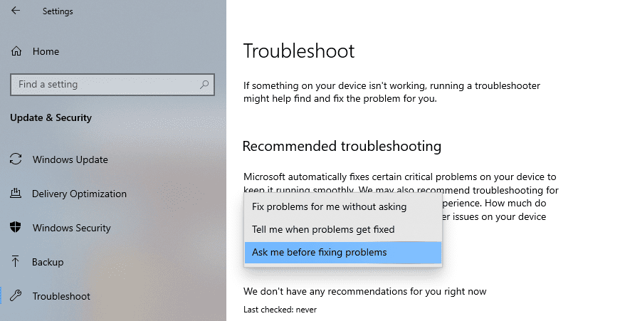 How to configure Recommended Troubleshooting on Windows 10 recommended-troubleshooting-states.png