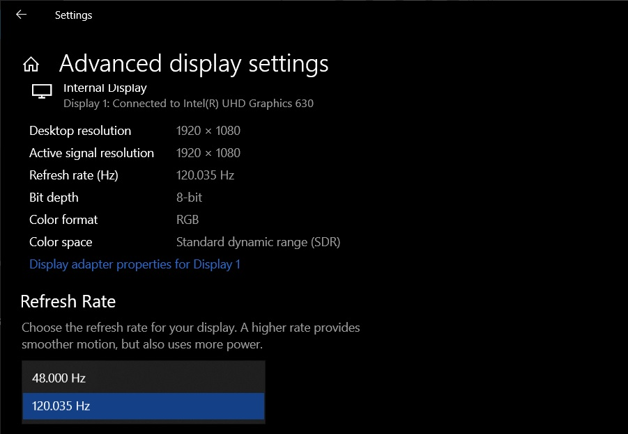 List of new features in Windows 10 October 2020 Update Refresh-rate-options-1.jpg