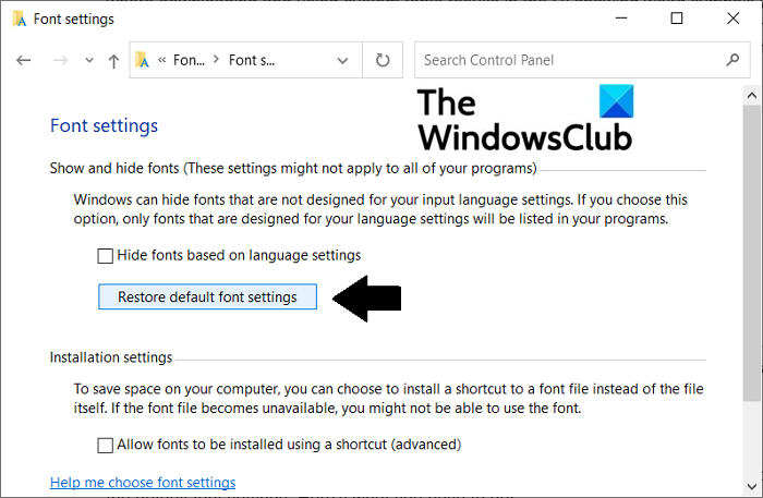 How to fix corrupted Fonts in Windows 11/10 reset-font-settings-1.png