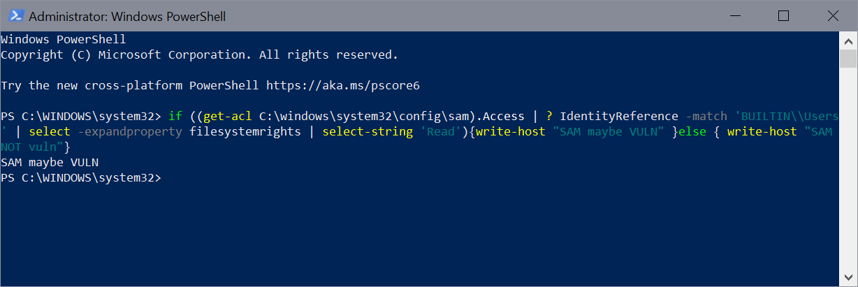 Workaround for Windows 10 and 11 HiveNightmare Windows Elevation of Privilege Vulnerability sam-vulnerable-check.png