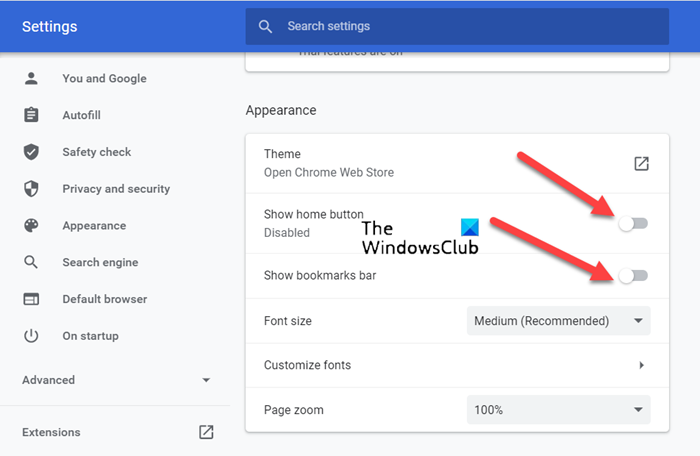 Chrome Top Toolbar Missing in Windows 11/10 show-bookmarks-option.png