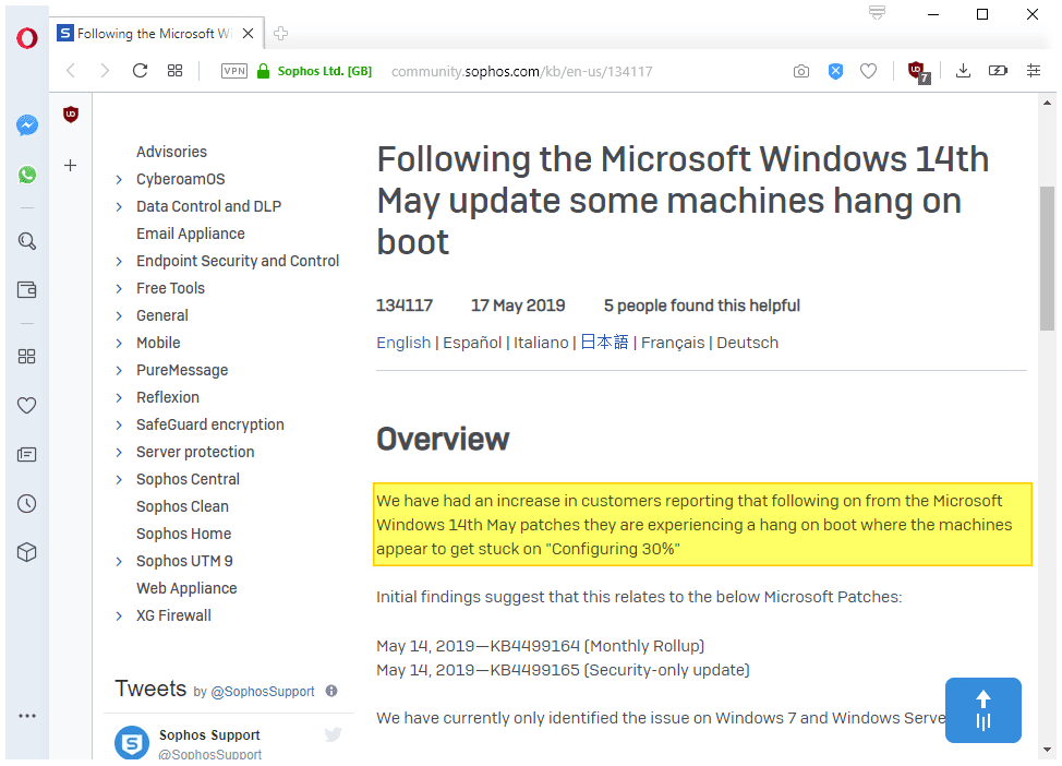 May 2019 updates for Windows 7 and Server 2008 R2 don't play nice with McAfee or Sophos... sophos-updates-issue.png