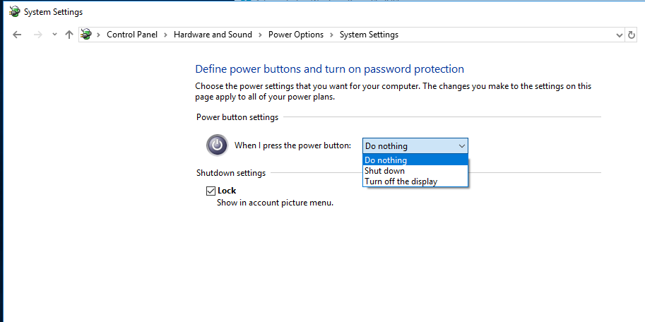 How can in change what the power buttons do when it's managed by your system admin? SQHnd.png