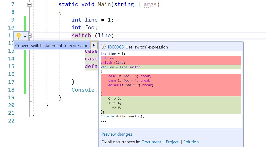 New Visual Studio 2019 version 16.2 Preview 2 released switchexpression.png