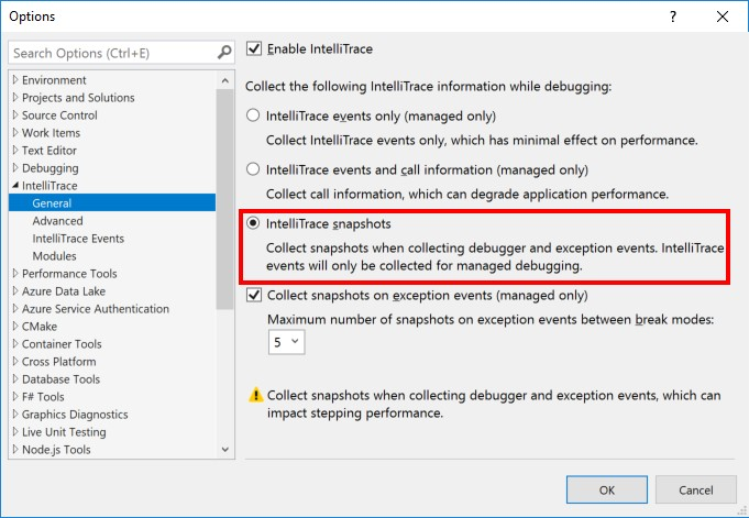 Visual Studio 2022 64-bit public preview will be released this summer Tools-Options-Dialog-showing-IntelliTrace-snapshots-option.jpg