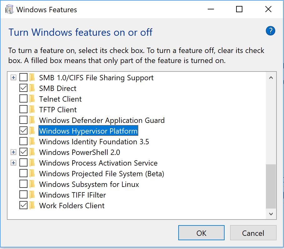Android Studio Emulator issue. windows feature crashes windows TurnWindowsFeaturesOnOrOff.png