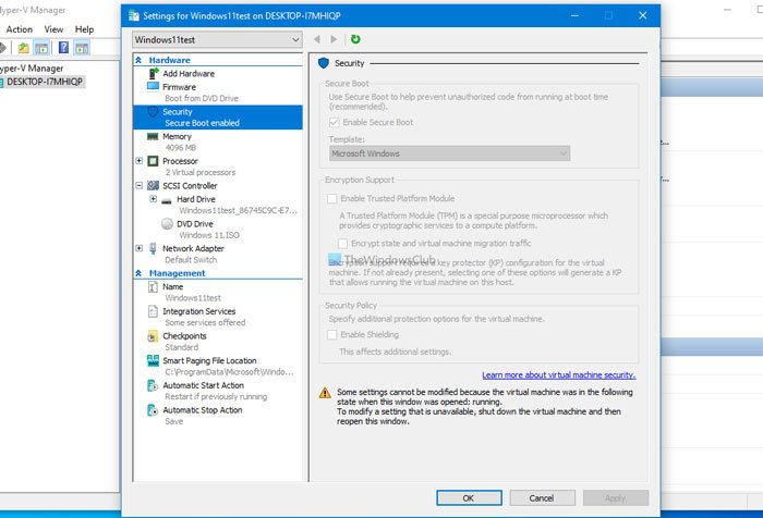 Security settings are grayed out in Hyper-V; Unable to change Security settings unable-change-security-settings-grayed-out-hyper-v.jpg