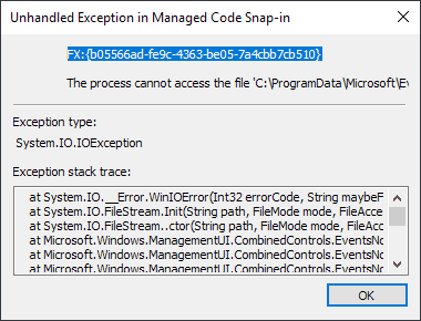 Windows 10: Event Viewer error after installing KB4503293 and KB4503327 unhandled-exception.png
