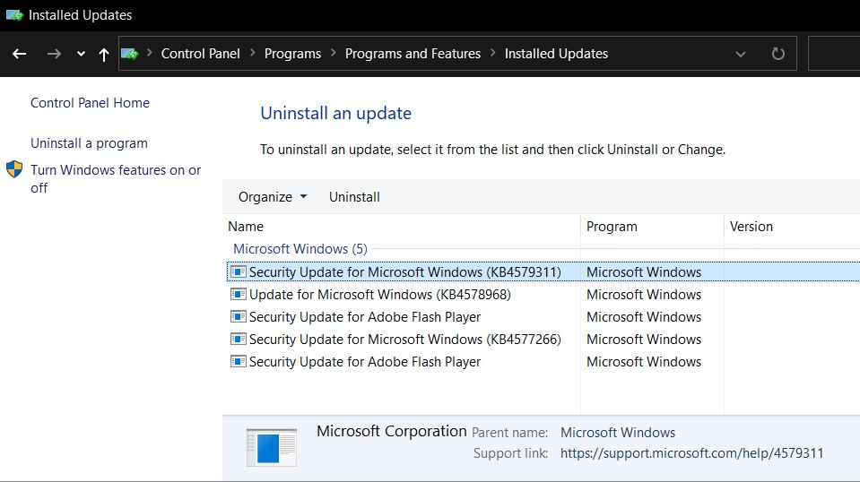 Windows 10 KB4579311 fails to install and causes other issues Uninstall-update.jpg