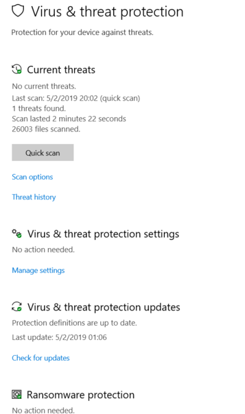 Windows defender repeatedly shows the same threat over and over after taking action UWsSW.png