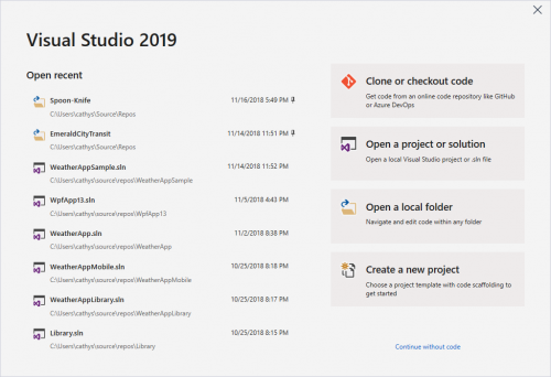 Visual Studio 2019 Preview 2 Blog Rollup vs2019-start-500x342.png