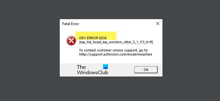 Fix COD Warzone Dev Error 6036 on startup Warzone-dev-error-6036.png