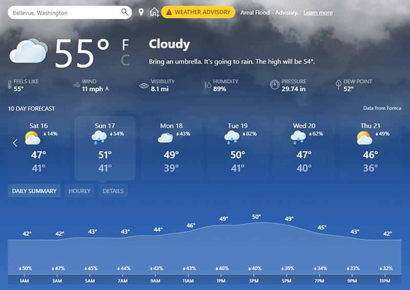 Microsoft details Windows 10's new taskbar experience Weather-card.jpg