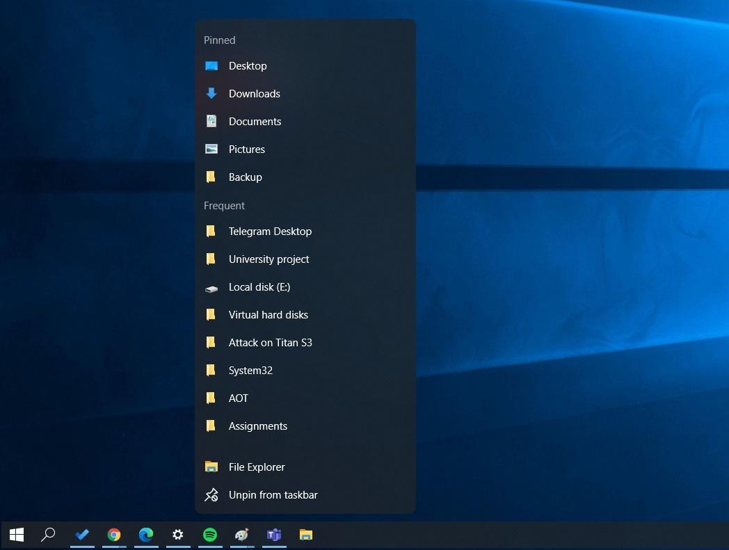 After Start Menu, Windows 10 is getting floating taskbar menu and more Windows-10-jump-list.jpg