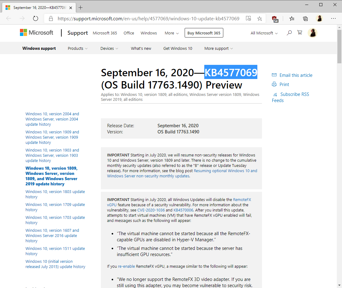 KB4577062 and KB4577069 preview updates for Windows 10 version 1809, 1903 and 1909 windows-10-version-1809-KB4577069.png