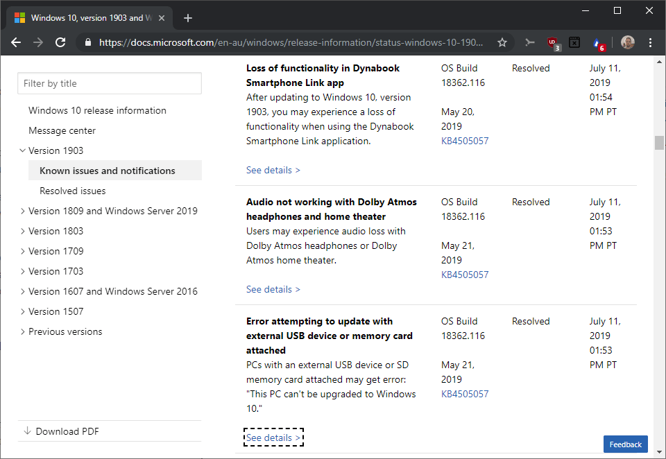 Windows 10 version 1903: some upgrade blocks lifted and new problems windows-10-version-1903-issues-resolved.png