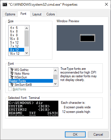 Windows 10 version 1903 may feature command prompt zooming windows-console-font.png