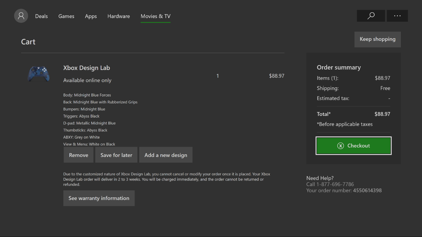 My shopping cart is Broken after adding Xbox controller from design lab xdl4.png