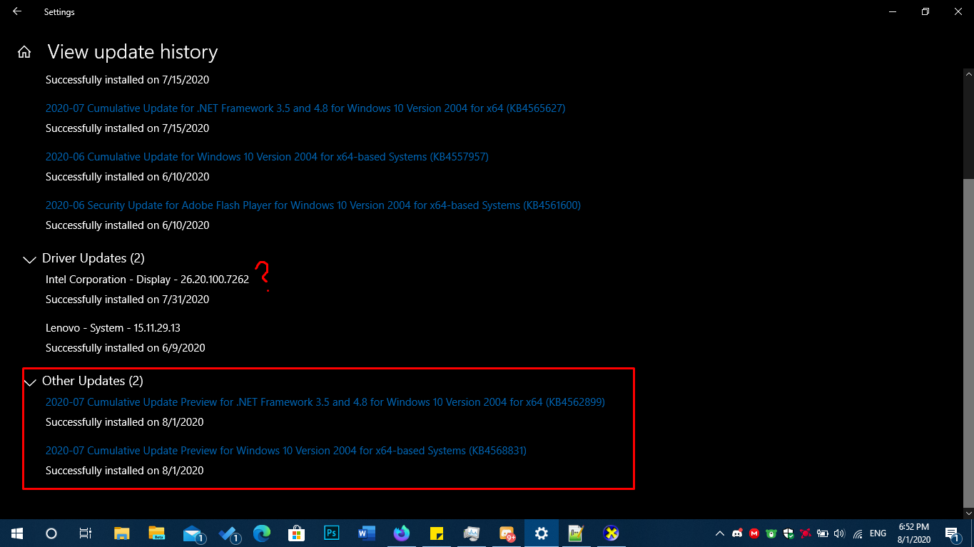 Windows Updates KB4562899 and KB4568831 Broke my DirectX? y914fxwmhde51.png